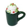 Christmas Hot Chocolate with Whipped Cream In Green Mug