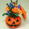 Handcrafted Halloween Jack O' Lantern Flower Arrangement