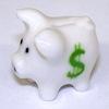 Ceramic Piggy Bank with Green Dollar Sign