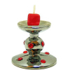 Ruby Encrusted Candle Holder With Red Votive Candle