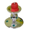 Emerald Encrusted Candle Holder With Red Votive Candle