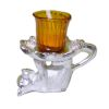 Amber Glass Votive Candle Holder On Cat Shape Stand