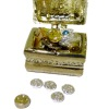 Rhinestone Jeweled Filled Gold Metal Pirate Treasure Chest