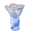 Handcrafted Blue Swirl Ruffled Glass Vase