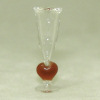 Handcrafted Glass Champagne Flute with Heart