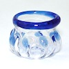 Handcrafted Blue Trim Glass Bowl or Vase