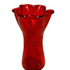 Handcrafted Red Ruffled Glass Vase