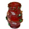 Handcrafted Floral Fused Red Glass Vase