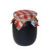 Black Jam Jar with Red Gingham Cover