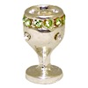 Silver Metal Jeweled Chalice or Goblet with Green Rhinestones
