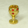 Rhinestone Jeweled Chalice or Goblet Golden Metal