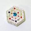 Opening Jeweled Silver Metal Jewelry Box