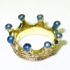 Handpainted Golden Crown with Turquoise Blue Accents