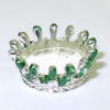 Handpainted Silver Metal Crown with Emerald Green Accents
