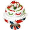 Handcrafted Christmas Cake on Peppermint Ceramic Cake Plate