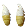 Pair of Vanilla Soft Serve Ice Cream Cones