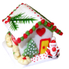 Christmas Gingerbread House with Santa and Heart