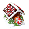 Christmas Gingerbread House with Santa and Candy Canes