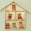 Handcrafted Teddy Bear Collection in a Wood Shadowbox