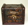 Opening Antiqued Wood Hope Chest Trunk Raised Design