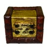 Opening Antique Hope Chest Trunk with Gold Trim