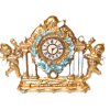 Ornate Hand Painted Gilded Victorian Cherub Mantle Clock