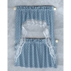 Blue Dotted Ruffled Demi Cape Curtain Set