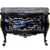 Hand Painted Bespaq Carved Bombe Chest