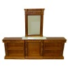 Bespaq Carved Fireplace Mirror and Bookcase Set