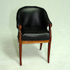 Bespaq Art Deco Moderne Black Leather Vanity Chair