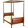 Bespaq Ruskin Bicolor Walnut Canopy Bed with Mattress & Pillows