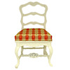 Bespaq Marne White Provincial Plaid Side Chair