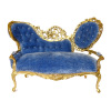 Bespaq Ornate Carved Gilded Chaise Lounge Sofa Velvet Upholstery