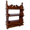 Bespaq Florence Walnut Carved Large Plate Shelf with Drawers