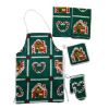 Handcrafted Christmas Gingerbread House Apron Potholders Set