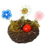 Handcrafted Whimsical Fairy Garden Flowers and Ladybug