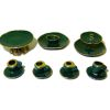 By Barb Gold Rimmed 11 Piece Green Ceramic Dessert Set