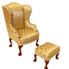 Fancy Gold Wing Chair With Ottoman