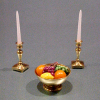 Filled Brass Fruit Bowl and Candlesticks Set