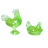 Dollhouse Miniature Clear Green Rooster and Hen on the Nest