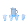 Clear Blue Depression Glass Water Pitcher and Glasses