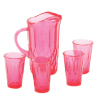 Clear Cranberry Depression Glass Water Pitcher and Glasses