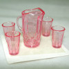 Clear Pink Depression Glass Water Pitcher and Glasses