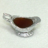 Handcrafted Silver Gravy Boat with Brown Gravy