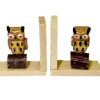 Handpainted Carved Wood Owl Bookends