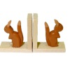 Handpainted Carved Wood Squirrel Bookends