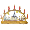 Deluxe Wood Christmas Church Candle Bow Decoration