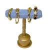 Handcrafted Filled Gilded Bracelet Display Stand Blue Velvet