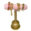 Handcrafted Filled Gilded Bracelet Display Stand Pink Velvet