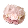 Handcrafted Ladies Hat with Pink Feathers and Flowers